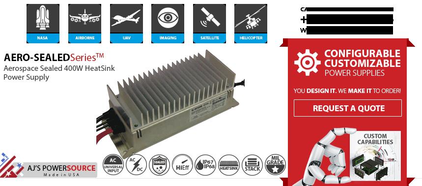 Aerospace Sealed IP65 Power Supply, Aerospace IP65 Power Supplies, Avionic Sealed IP65 DC DC Power Supply, Aircraft Sealed IP65 AC DC Power Supply, Aerospace IP65 400W Power Supplies